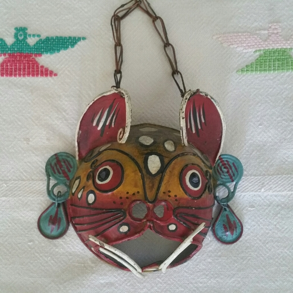 Antique/Vintage Mexican cat mask wall…